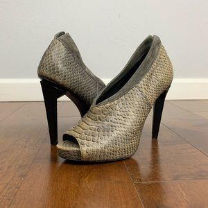 Rebecca Minkoff Peep Toe Snakeskin Heels